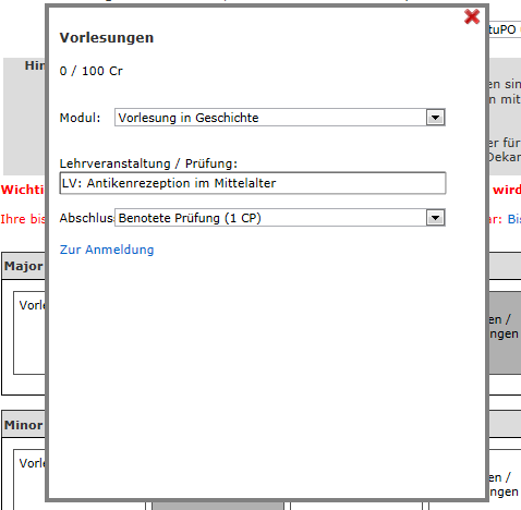 If you need to change your registration you can do this here by clicking on zur