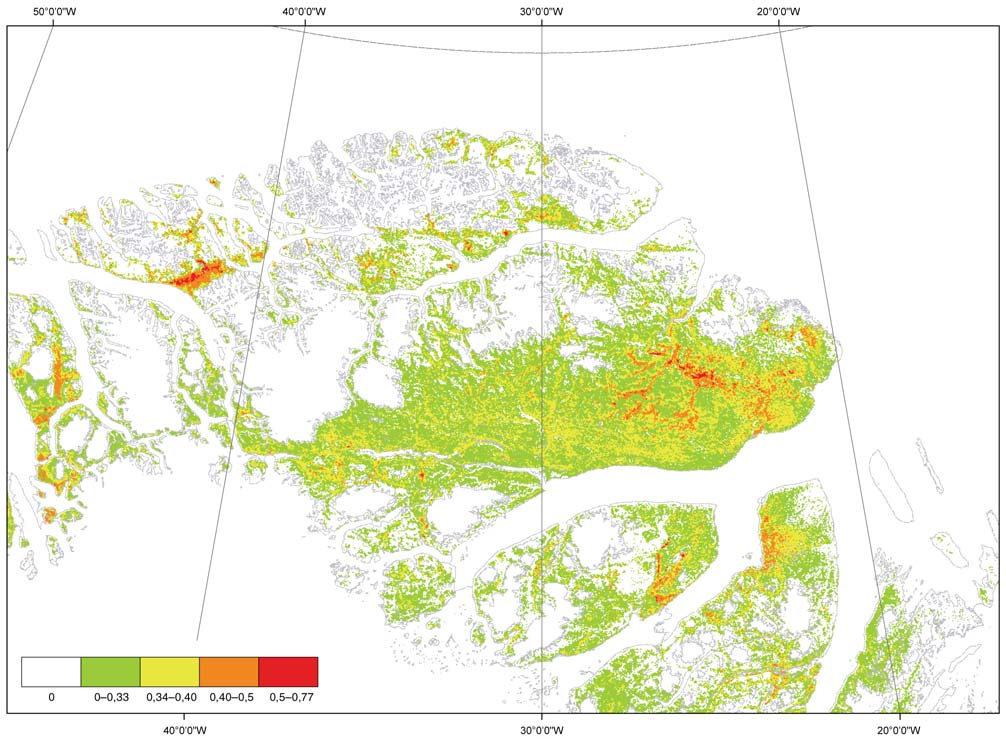 Figure 3. A map showing NDVI-values (Normalised Difference Vegetation Index) from Northeast Greenland in August 2004. The NDVI is a measure of greenness ( lushness ). Table 2.
