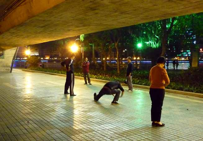 Recommendations The urban space is quite naturally utilised by the young and the old for strength training, martial arts, tai chi, qigong, dancing, gymnastics, and different stretching exercises