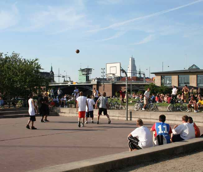 Informal activity area on Islands Brygge in Copenhagen.