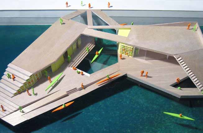 Recommendations Cut-outs in the surface create two pools. The kayaks are stored visibly within the interior building facades, constituting an aesthetic element.