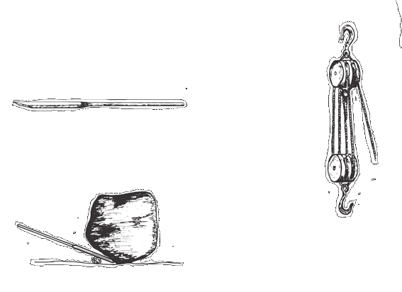 ools for Lifting and Hauling Place the chisel tip under an object to be moved, and wedge a log or rock between the bar and the ground to act as a fulcrum for the lever.
