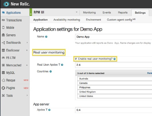 To set up Real User Monitoring: From the New Relic menu bar, select Applications > (selected app) > Settings > Application, and select the checkbox option to enable RUM.