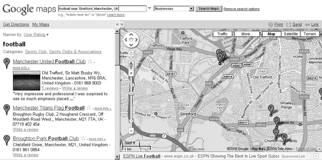 432 MARK GRAHAM Figure 7. A Google Maps search for football near Stretford, Greater Manchester.