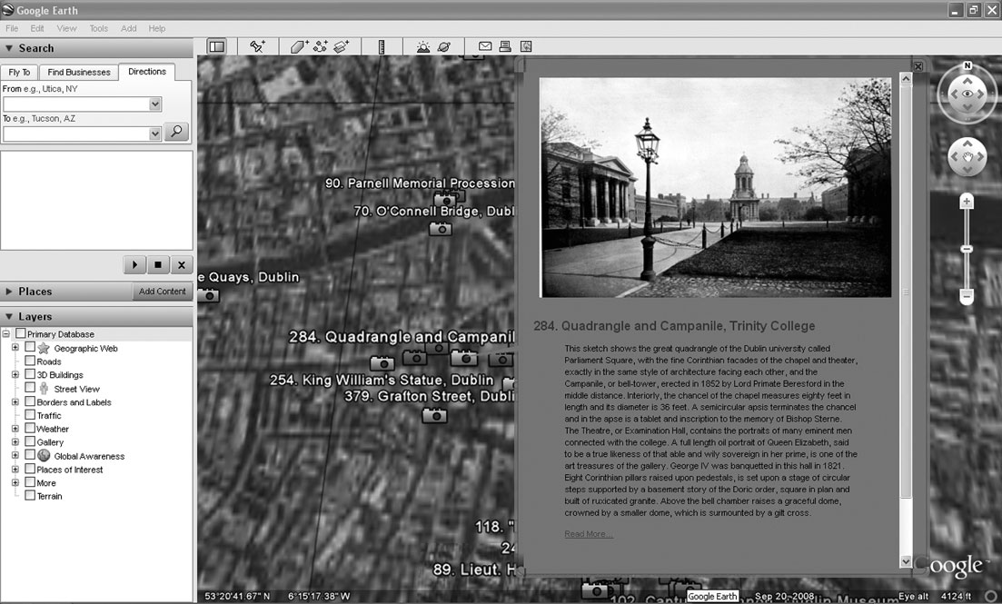 NEOGEOGRAPHY AND THE PALIMPSESTS OF PLACE 427 Figure 1. Geotagged photograph of the Trinity College Dublin Quadrangle in 1898. WikiMapia.