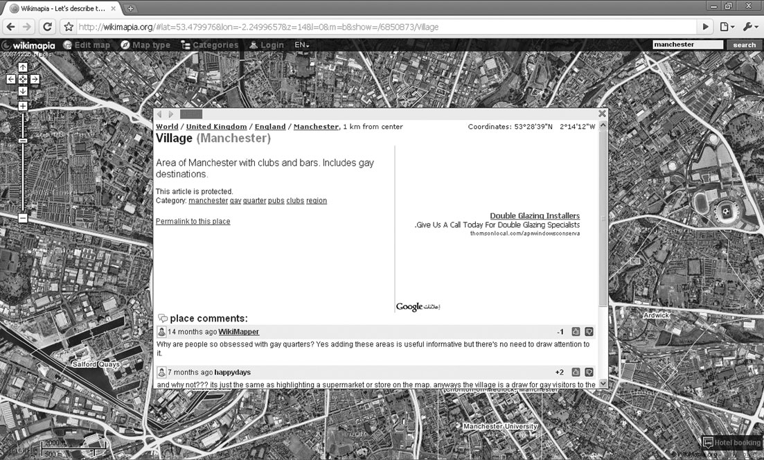428 MARK GRAHAM Figure 2. The Village in Manchester. OpenStreetMap Finally, there is the Open- StreetMap project.