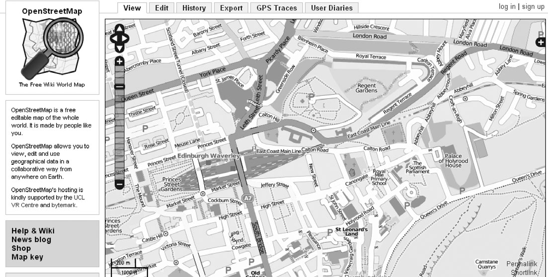 NEOGEOGRAPHY AND THE PALIMPSESTS OF PLACE 429 Figure 3. OpenStreetMap of Edinburgh, UK. globes, an additional factor can influence presence and absence in cyberspace.