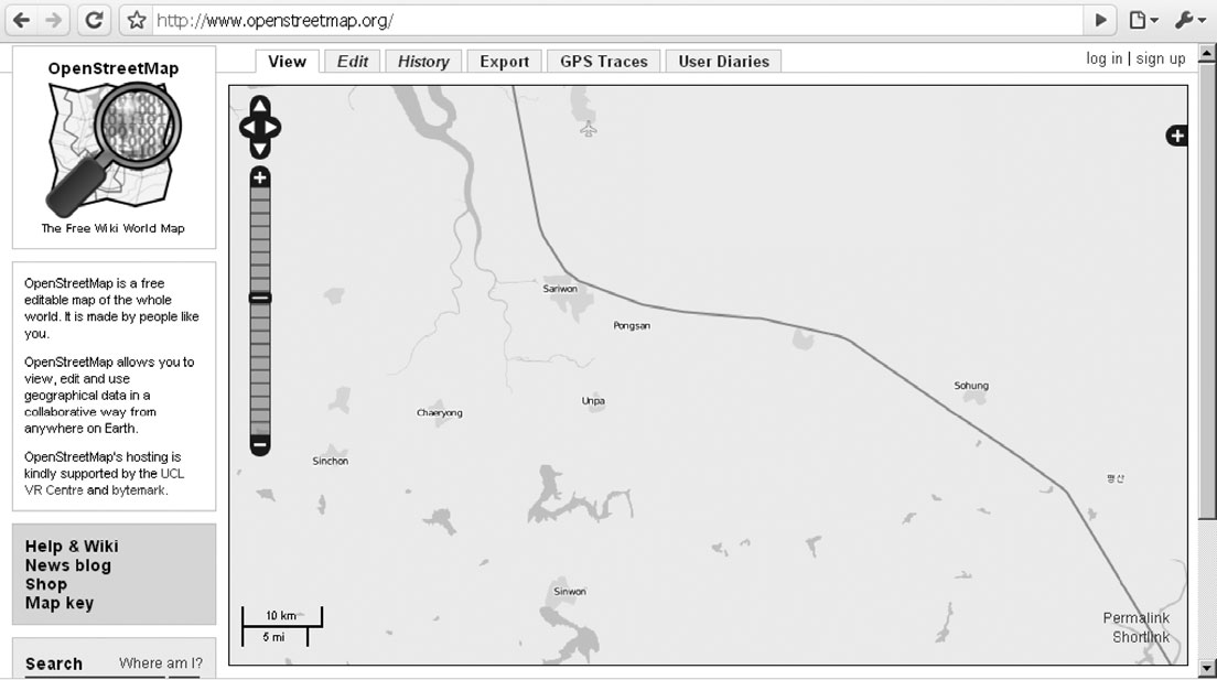 430 MARK GRAHAM Figure 5. An OpenStreetMap of South-western North Korea.