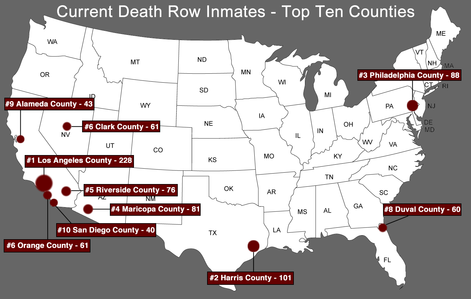 The 2% Death Penalty, p.8 The next map illustrates the top counties in terms of inmates on death row as of January 1, 2013.