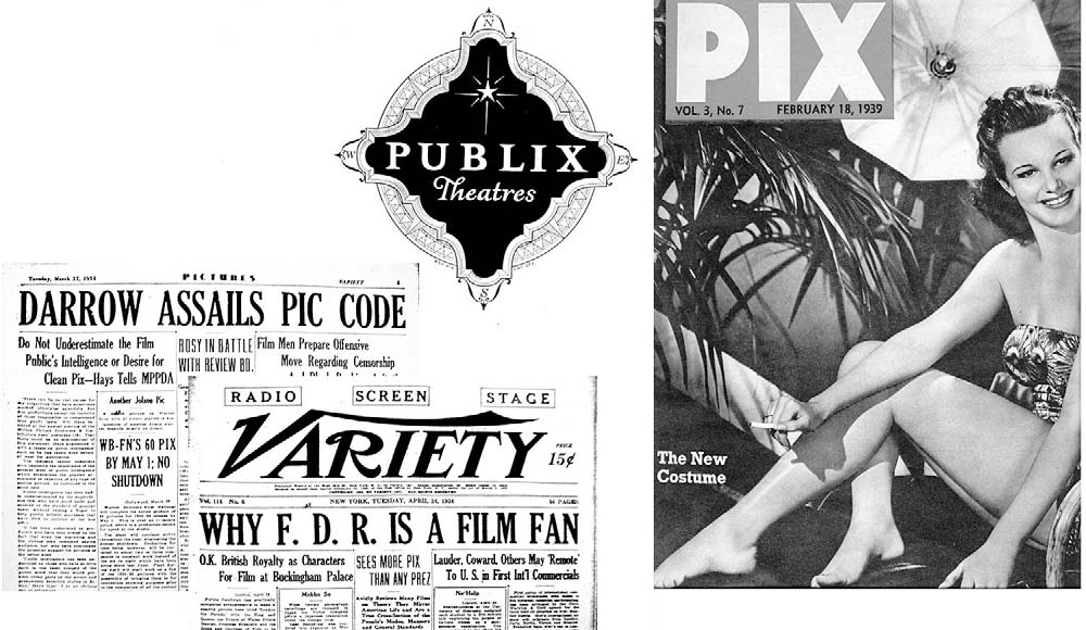 PIX FOR PICTURES The Dictionary of American Slang 34 explains that pix was popularized for movies (picture shows) by Variety magazine headline writers before 1936, and has been in wide newspaper use
