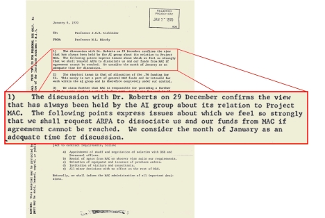 Figure 14: Memo from M. Minsky to J.C.R. Licklider regarding funding The funding of the AI Group was also separate from that of the rest of Project MAC.
