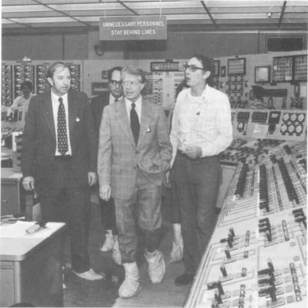 ACCOUNT OF THE ACCIDENT President Jimmy Carter touring the TMI-2 control room with (1 to r)