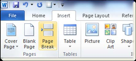 move content to the next page. Select the Insert tab on the Word toolbar, then select Page Break.