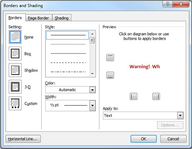 Figure 69. Borders and Shading dialog box 7) Select the Borders tab in the Borders and Shading dialog box.