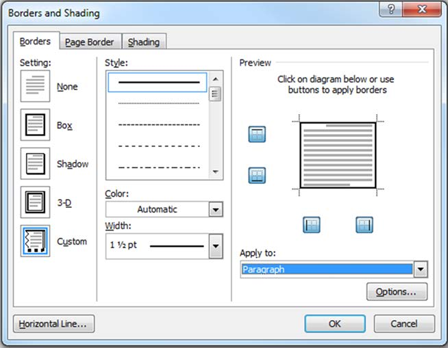 Figure 72. Borders and Shading dialog box with paragraph borders applied around the Preview block 11) Click on OK. The message will appear surrounded by a border as follows: Warning!