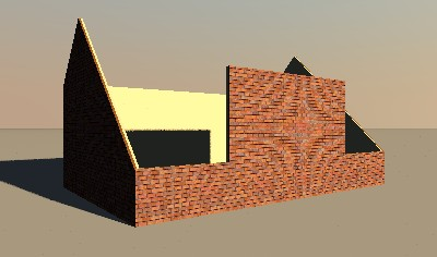 4 - Modify the wall heights of the left and right walls as follows: - bottom section slopes from 100 to 300 cms; - middle section slopes from 300 to 450 cms; - top section slopes from 450 to 300 cms.