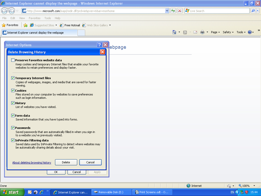 Step 2 (Microsoft Internet Explorer) now on this screen tick the box called 'Password' you may tick or untick other