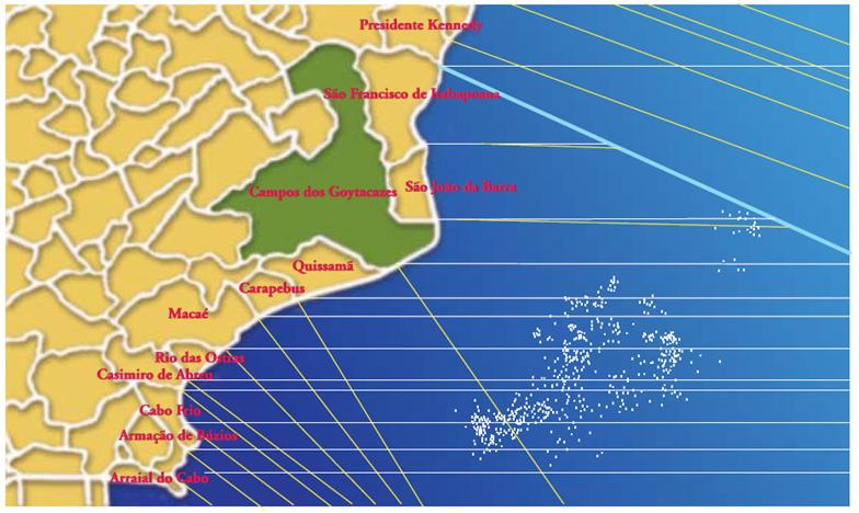 Figure 2 Orthogonal and parallel lines on Rio de Janeiro coast