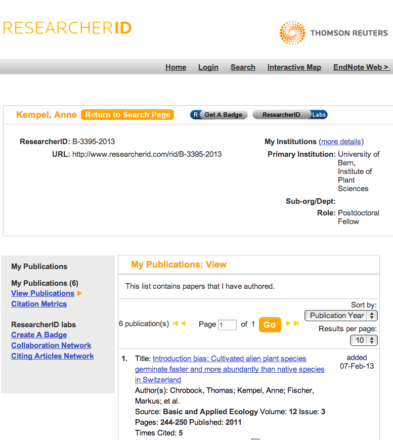 More visible in WoS with a Researcher ID 1. Go to Researcher ID, sign up and complete your profile. 2.