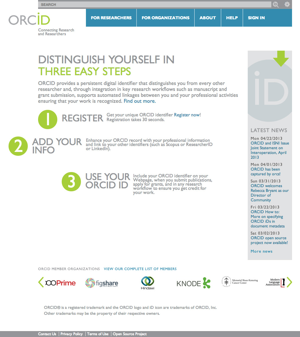 New: ORCID = Open Researcher & Contributer ID Central registry of persistent, unique and open identifiers for active researchers 16-digit