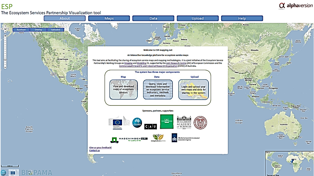 Figure 5. The Ecosystem Services Partnership Visualization tool homepage.
