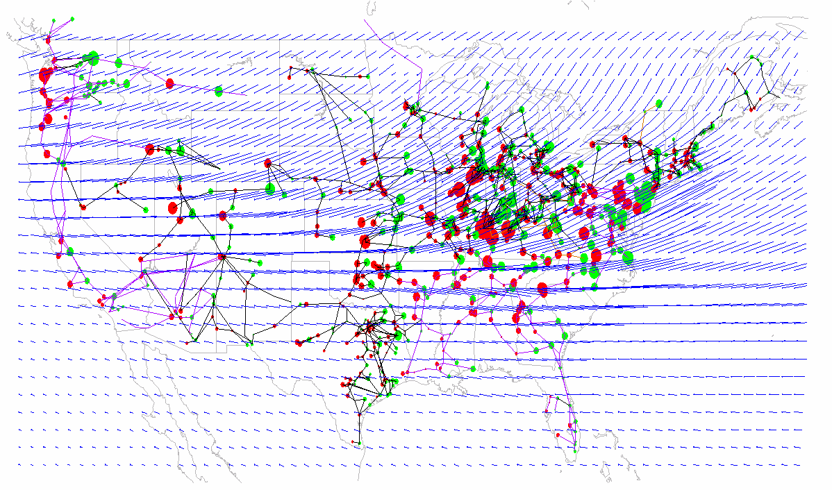 Figure 3-20 provides an illustration of the geo-electric field and GIC flow patterns for the 10 o latitude shift storm scenario.