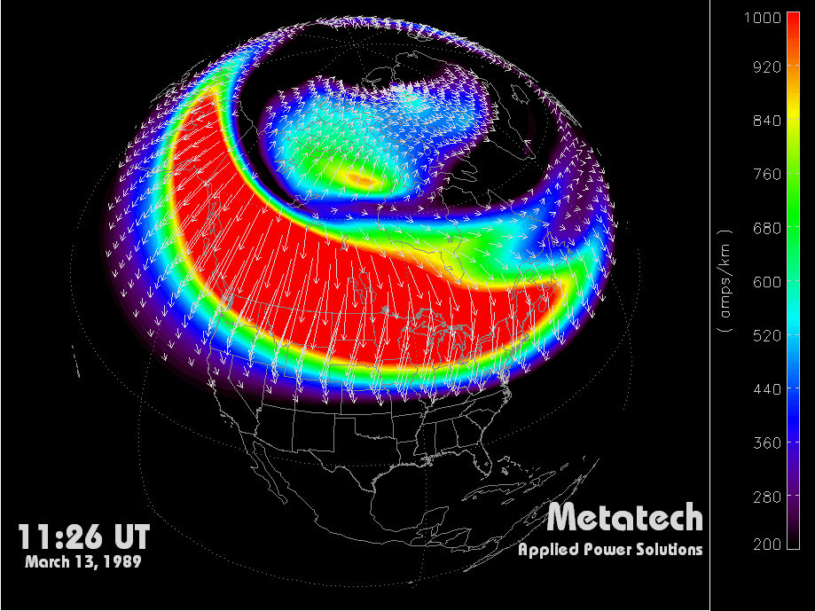 Figure 2-14. Simulation of geomagnetic conditions at 11:26 UT, on March 13, 1989. Figure 2-15.