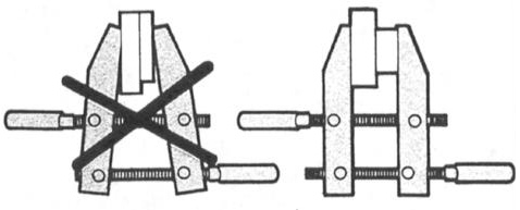 1 Open the clamp jaws (1) and place the work between the jaws. Keep jaws parallel.