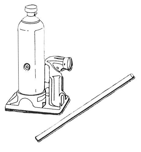 An outrigger ratchet jack is ratchet operated and has an extra reverse ratchet handle and a base plate.