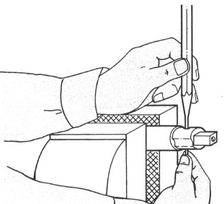 2 Hold punch (1) in your left hand centered over pin (2), tap punch lightly with hammer (3). This should move the pin. 3 Catch the pin in your right hand before it falls out of the shaft.