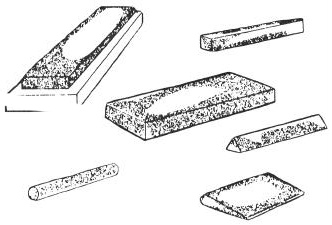 TYPES AND USES - Continued SHARPENING STONES Sharpening stones usually have one coarse face and one fine face. This could combine the coarse artificial stone with the fine natural stone.