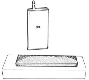 USING A SHARPENING STONE NOTE Unless stone is already oil-impregnated, apply a light