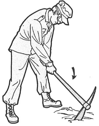 USING THE MATTOCK - Continued 2 When practicing using the mattock, swing with either the right or the left hand leading.