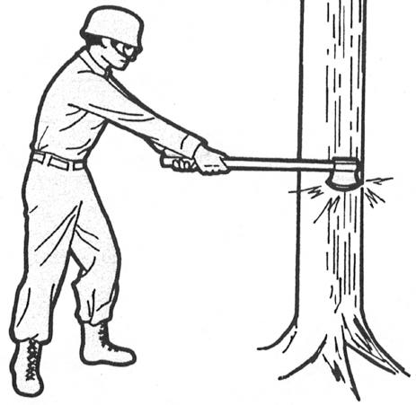 2 To use the ax, grasp the ax handle with both hands close together near the end of the handle, with the right or leading hand closer to the ax head.