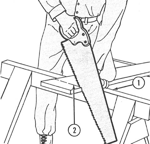 USING THE CROSSCUT SAW 3 Start the cut by drawing back a few inches of teeth at the heel of