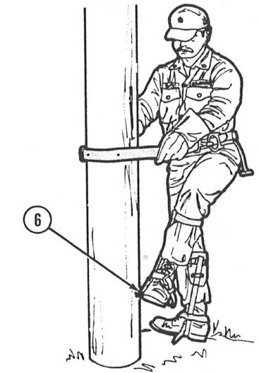USING CLIMBING TOOLS - Continued 7 While climbing, lean your body away from the pole to prevent the safety strap from