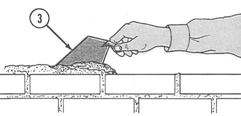 USING THE BRICK TROWEL 1 Hold the trowel with thumb on top of handle (1) for balance and control.