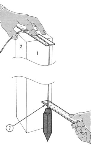 USING A PLUMB BOB - Continued 7 Have the assistant measure distance (7) from post to string just