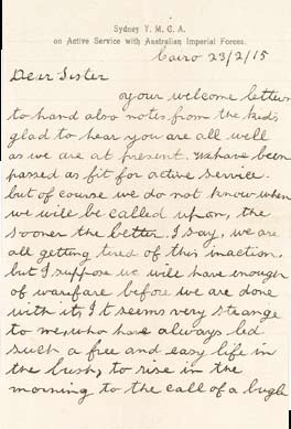 This letter was sent by Joe and Oliver from a training camp in Cairo on 23 February 1915.