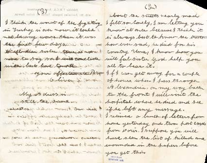 This letter was written by Oliver to Una on 31 May 1915, after hearing the news of Joe s death.