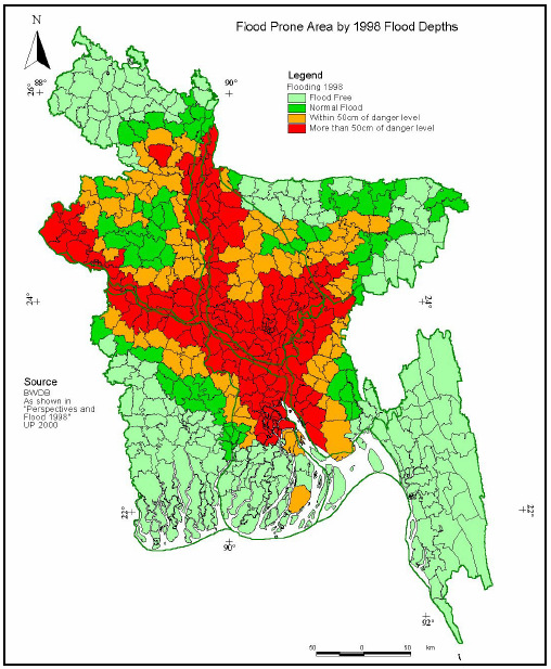 Figure 2: Current flood-prone regions of Bangladesh Source: Ministry of Environment and Forest Government of the People s Republic of Bangladesh (2005) National Adaptation Programme of Action (NAPA)