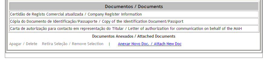 It includes the following fields: Nome Completo/ Full Name, it is mandatory to indicate the full name of the person legally representing the MAH; Nº de Identificação/ ID Number or Passport Number, it