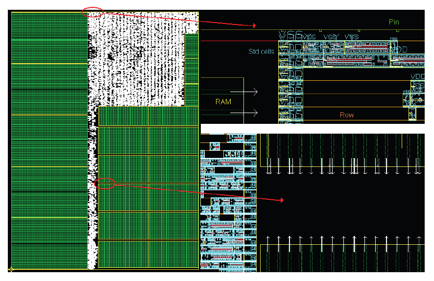 4. LDPC decoding on VLSI architectures Figure 4.15: Floorplan with placed std cells, RAM and pins for the optimized 45 functional units design. of 6.