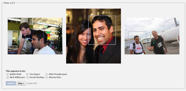 2 Fig.. Social authentication on Facebook. Facebook typically asks the user to name people in three photos.