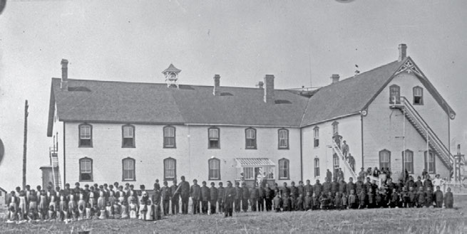 5 Chapter One To Christianize and Civilize: Canada s Residential Schools Students played a major role in building the facilities at the Battleford school (photographed here in 1895).