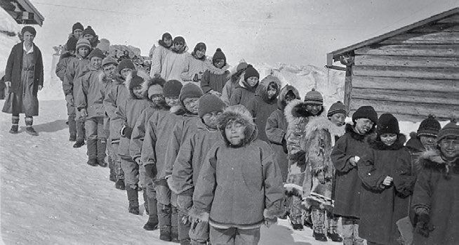 24 Truth & Reconciliation Commission Students outside the school in Shingle Point, Yukon, in approximately 1930. The General Synod Archives, Anglican Church of Canada, P9901-570.