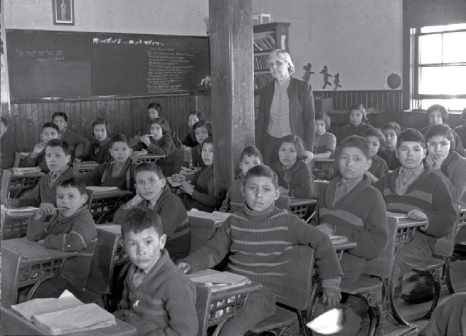 School Days: The Residential School Experience 27 The message on the blackboard of this Anglican-run school in Lac la Ronge, Saskatchewan, in 1945 is Thou Shalt Not Tell Lies.