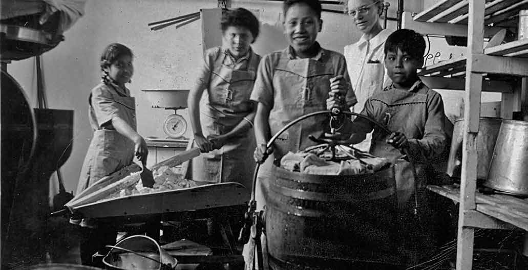School Days: The Residential School Experience 33 Staff and students making butter at the Old Sun School in Alberta, in 1945. The General Synod Archives, Anglican Church of Canada, P7538 (1006).