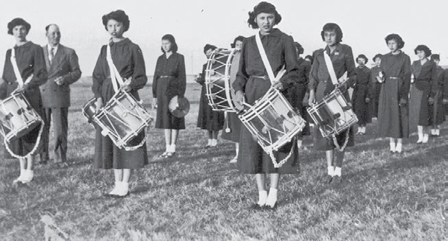 48 Truth & Reconciliation Commission The girls marching band at the Cardston, Alberta, school, 1952. The General Synod Archives, Anglican Church of Canada, P2004-09 (143).