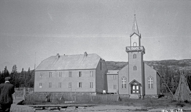 58 Truth & Reconciliation Commission Moravian Church and Mission School, Makkovik, Labrador. September 1926. L.T. Burwash, Department of Indian Affairs and Northern Development collection, Library and Archives Canada, PA-099500.